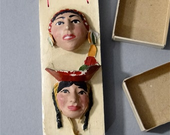 Folk Art Double Matchbox Ethnic Sculpted Faces Composite Heads Hand Painted Vintage Collectible 1930's