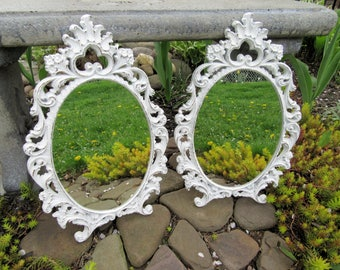Pair of White Ornate Vintage Wall Mirrors~Shabby Chic Wall Mirrors 16x10~Victorian Shabby Cottage Chic Bedroom Bathroom Nursery Wall Mirrors