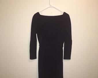 Vintage purple wool shift dress c1960s