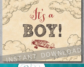 It's a Boy Sign - 8x10 inches - Gender Reveal Sign - Vintage Airplane Baby Shower - Red - Digital - Printable - INSTANT DOWNLOAD