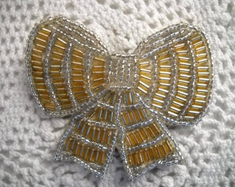 Vintage Beaded Bow Brooch, Clear and Gold Beaded Pin, Leather Backed Bow Brooch, Craft Pin, Sewing Supply