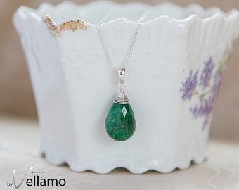 Emerald May birthstone necklace, natural genuine emerald faceted briolette gemstone, sterling silver necklace, dainty gift for her necklace