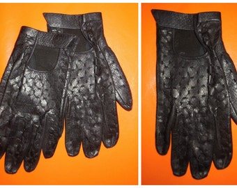 SALE Vintage Black Leather Driving Gloves Barely Worn Womens about 7 1/2 Rockabilly Mod Rocker