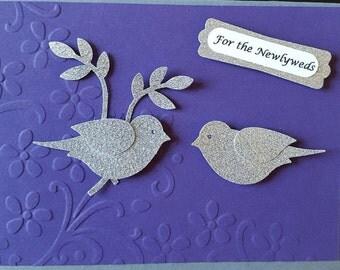 Silver Birds Wedding Card #WED 1