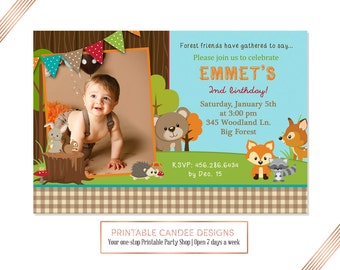 Forest Friends Birthday Invitation, Woodland Invite, Fox Party, Bear Invitation, Animal Birthday, Printable DIY