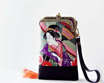 Wristlet phone case two compartment, Japanese fabric Geisha, Eyeglasses case, iPhone 6 plus, Galaxy note