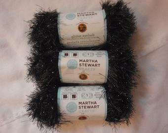 3 Skeins Lion Brand Martha Stewart Glitter Eyelash Black Yarn ONYX #553 New
