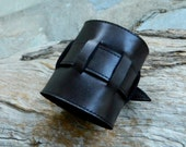 CUSTOM Dark Brown Leather Cuff with Weave Strap Recycled Leather Wristband With Buckle