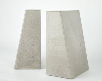Modern Concrete Bookends, Heavy Bookends, Kitchen Book Ends, Cement Bookend, Decorative Bookends - Set of 2