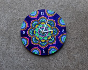 Old Vinyl Record Hand Painted Clock.