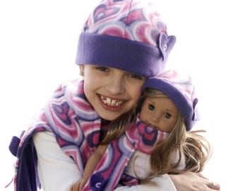 """Doll Clothes Girl American 18"""" Matching Girl Doll Hat and Scarf Set Fleece Christmas Gift Pink Purple Hearts Cute"""