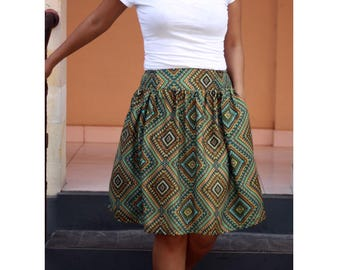 Geometric Midi Skirt / Knee Length Skirt in Green and Yellow / Pockets / Summer Fashion
