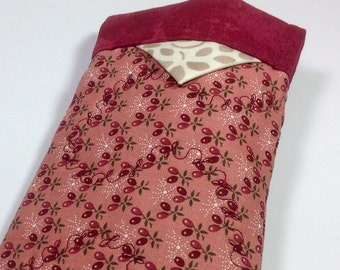 Fabric Sunglass Case, Eyeglasses Holder, Snappy Sleeve, Old Fashioned Antique Vintage cherry red Floral Smartphone Purse Organizer Tampon