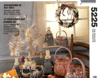 McCall's 5225 Springtime In The 90's Duck And Bunny Sewing Craft Pattern, Baskets, Ornaments & Tree, UNCUT