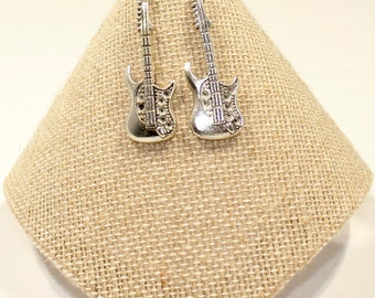Guitar Earrings - Guitar Jewelry - Silver Guitar Earrings - Electric Guitar Earrings -Guitar Gift - Guitarist Gift, Music Teacher Gifts