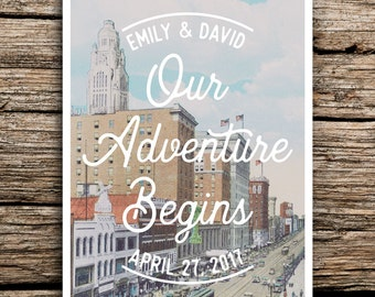 Columbus Ohio Save The Date Postcard // Ohio Wedding Save The Dates  Adventure Postcards Downtown