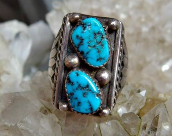 Large Scale Silver Turquoise Nugget Ring, Vivid Blue with Black Veining, Silver Shot Accents, Size 10 3/4 U.S., Unsigned, Nicely Crafted