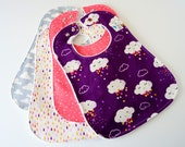 Oversize Baby or Toddler Bibs for Girl, Set of 4 - Clouds, Rain, Stars, Moons, Sky, Raindrops, Minky Back