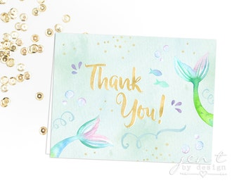 Watercolor Mermaid Thank You Notes
