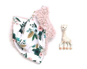 Lovey Teal Bouquets. Lovey. Floral Lovey. Teal Lovey. Pink Lovey. Mini Baby Blanket. Security Blanket. Lovie. Minky Lovey.