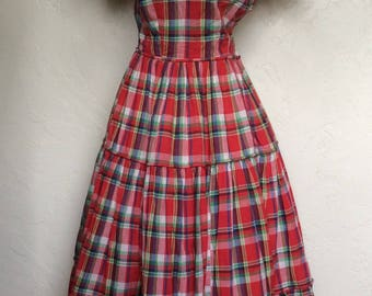 Pretty in Plaid 1940's Plaid Cotton Maxi Dress - Small