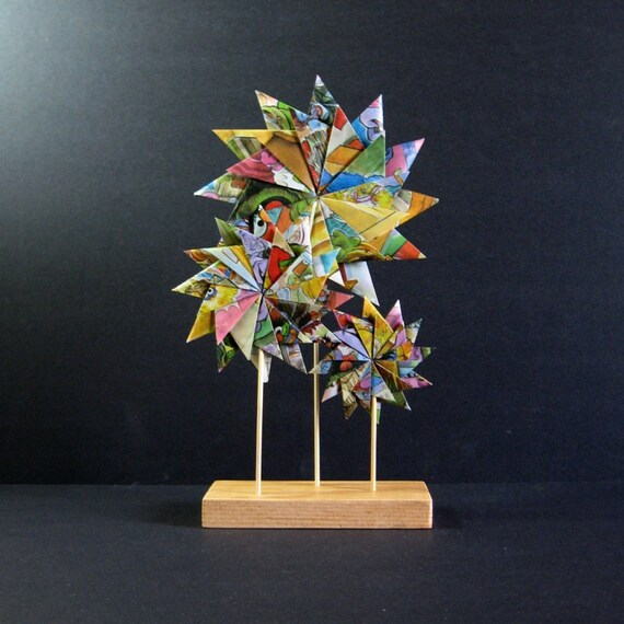 Paper Garden - Origami Sculpture - Geometric Art - Pastel Home Decor - Recycled Book Paper Flowers - Paper Anniversary - Origami Flowers