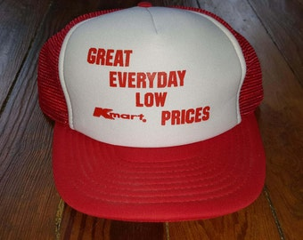 KMART RED HAT // 80's Red White Trucker Hat Baseball One Size Fits All Vintage Great Everyday Low Prices