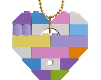"Kawaii Pastel necklace - Chunky heart pendant - made from LEGO (R) bricks on a 24"" Silver/Gold plated ballchain - Fairy Kei - Sweet Lolita"
