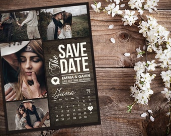 Save The Date Magnet, Card or Postcard . Dark Rustic Wood Calendar