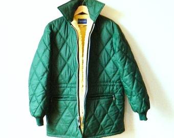 Vintage Mens Sherpa Lined Jacket / Forest Green Quilted Parka / Vintage Winter Coat / Mens Sherpa Lined Woodland Coat