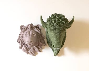 Set of 2: Bison + 1 other small animal head wall mount Faux Taxidermy Small faux animal head bundle adventure wall decor animal wall art