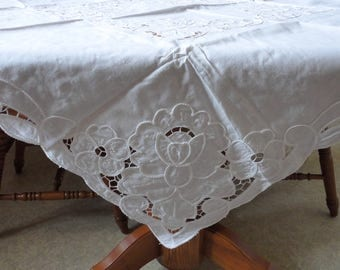 """Square 40"""" x 40"""" White-On-White Vintage Tablecloth Open Work Lacy Embroidery Cotton Table Cloth Centerpiece Braid Floral Applique Flowers"""