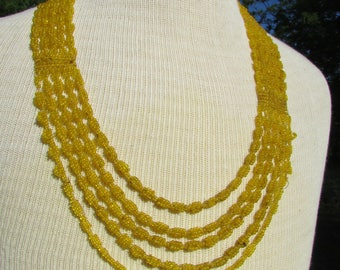 Hand beaded Yellow Necklace Multistrand