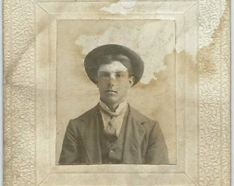 Small Antique Cabinet Card Photo, Handsome Young Man, 1800s