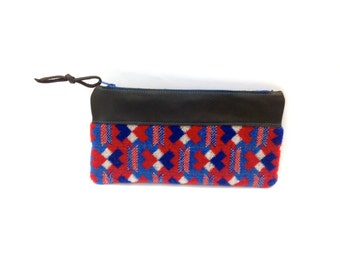 London Underground Moquette Leather Zip Case