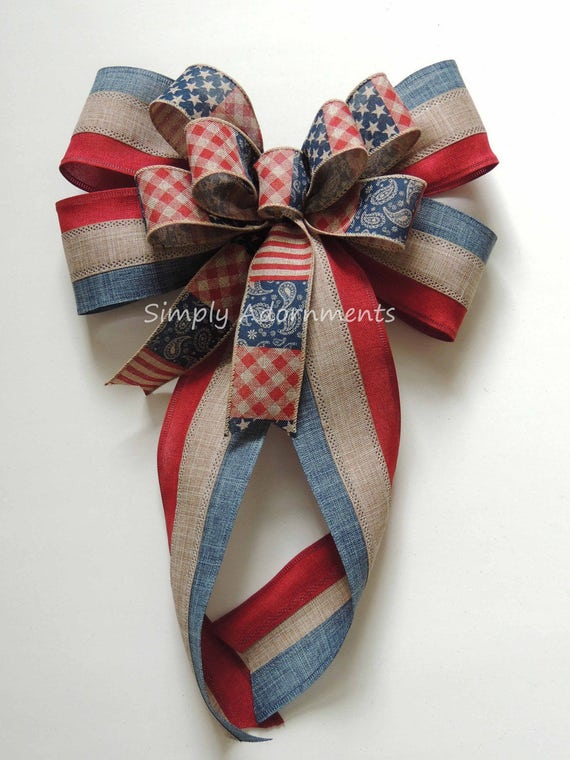 July 4th Swag bow Rustic Patriotic Wreath Bow Fourth of July Party Decor Americana Patriotic Door Hanger Decor Handmade Patriotic Gift Bow