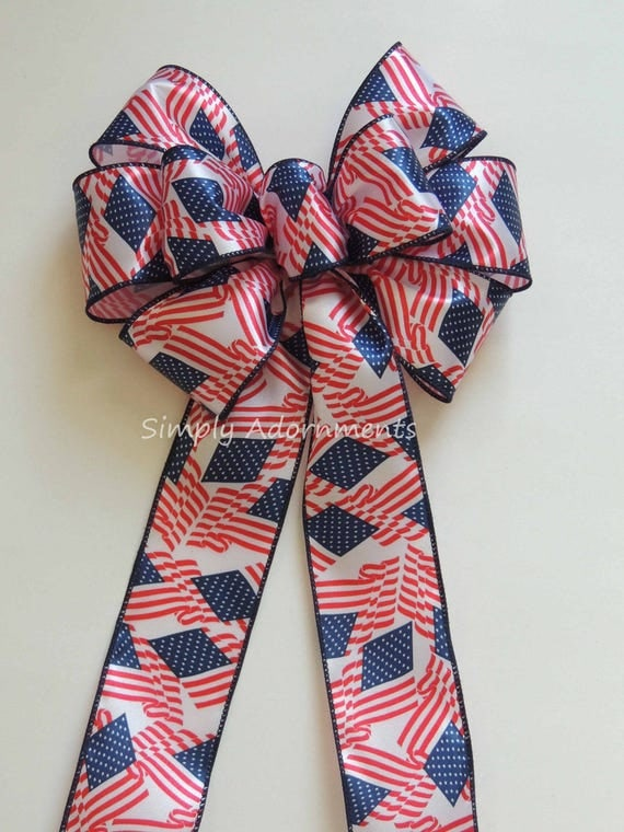 July 4th Patriotic Wreath Bows American Flag Wreath Bow Fourth 4th of July Party Decor Bow Independence Day Decor Patriotic Door Hanger Bow