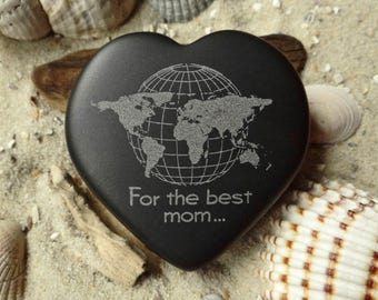 Heart world map for the best mom... Engraving basalt - heart - lucky charm - mother's day - world map - engraving