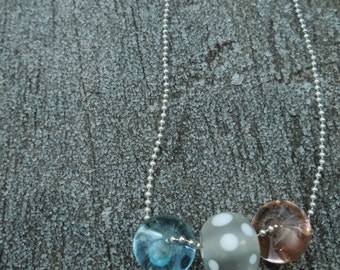 Ball chain necklace  - transparent glass beads - frosted look