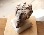 Head sculpture, Small ceramic head, Ceramic sculpture, White clay sculpture, desk accessories sculpture, small art sculpture, by 99heads