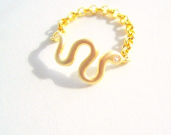 Serpent Gold Chain Ring, serpent ring, snake ring, gold snake ring, minimal gold ring, snake jewelry, snake rings, minimal gold chain ring