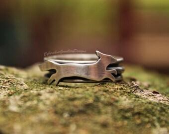 Silver spinner ring, fidget ring, fox ring, fox spinner ring, silver fox ring, handmade, woodland, UK size O, USA size 7 1/4, UK Hallmarked