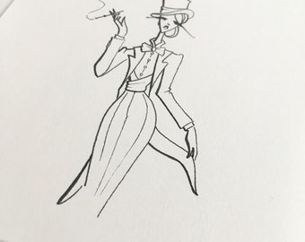 fashion illustration - fashion art - femme fatale - tuxedo - androgynous - glam - ink pen drawing