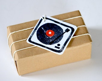 Mini Turntable/ Record Player Gift Tags- Set of 9