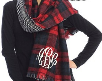Monogrammed Double Sided RED Tartan Plaid Black Houndstooth Blanket Scarf Wrap  Font Shown MASTER CIRCLE in White