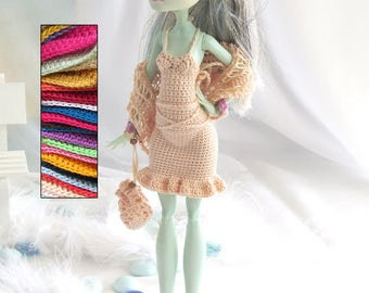 Choose your colours | for Monster High doll ~Custom- Dress & shawl (style 3)