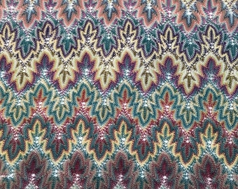 1920's RARE Flame-Stitch Fine Knit Silk Shawl, Early Machine-Worked  - Gorgeous Colors, Forerunners to Missoni knits
