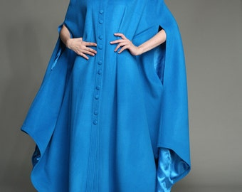 Wool Cape In Blue, Maxi Wool Cloak, Winter Cape, Winter Coat, Maxi Cloak, 100% Wool Cashmere Coat, Costume, Bridal Cape, Wedding, Plus Size
