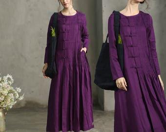Purple Sangria Maxi Dress, Pleated Handmade Dress, Maxi Linen Dress, Linen Evening Dress, Long Sleeve Dress, Cocktail Dress, Long Linen