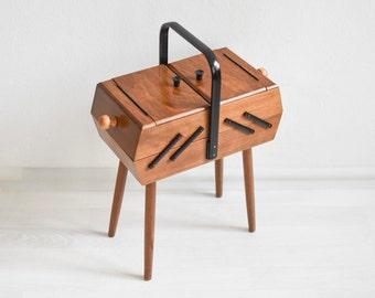 Rustic sewing basket, knitting box, knitting basket, jewelry box, jewelry organizer